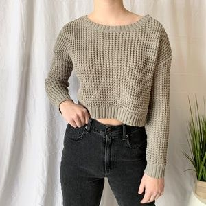 Urban Planet Cropped Chunky Knit Sweater Taupe XS